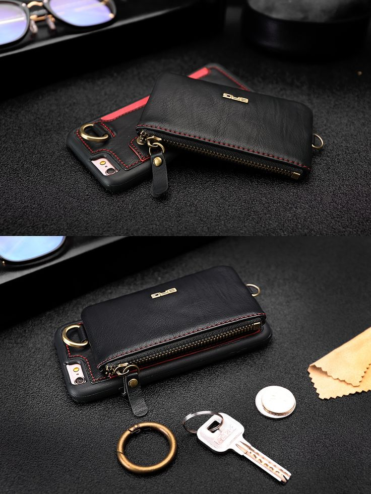 BRG Detachable Card slots Zipper Wallet Bag Leather Case With Hanging Hook for iPhone 6/6s Plus