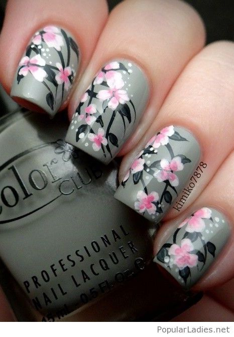 Grey nails with pink flowers - The 25+ Best Pink Grey Nails Ideas On Pinterest Grey Christmas