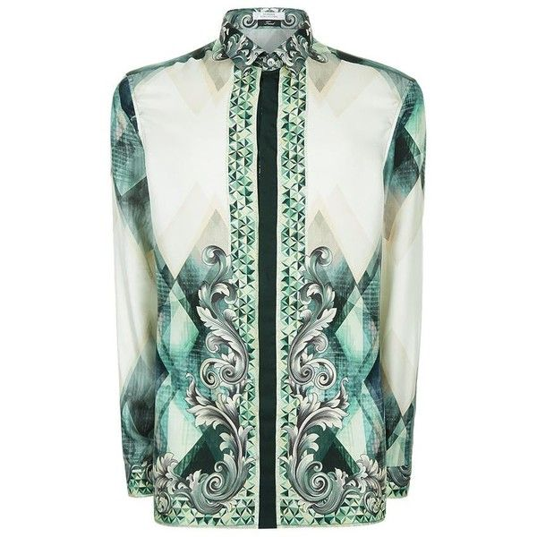 Versace Collection Abstract Baroque Print Silk Shirt ($485) ❤ liked on Polyvore featuring men's fashion, men's clothing, men's shirts, men's casual shirts, mens abstract shirts, mens baroque shirt, mens silk shirt and versace mens shirt