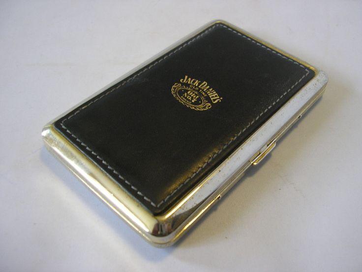 Vintage Jack Daniels no 7 cigarette case business card case leather chrome tobacciana brass slimline by TheIrishBarn on Etsy