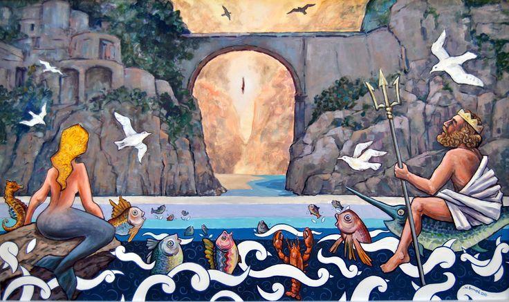 Murales raffigurante il Fiordo di Furore visto da mare