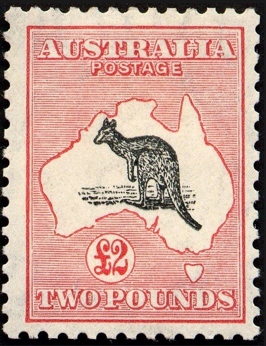 "File:Australia stamp 1913 2pd kangaroo.jpg For most, Australian philately proper begins on 2 January 1913 with the issue of a red 1d (one penny) Kangaroo and Map, the design of which was adopted in part from the entry that won the Stamp Design Competition. This was the first definitive stamp with the sole nomenclature ""Australia""."