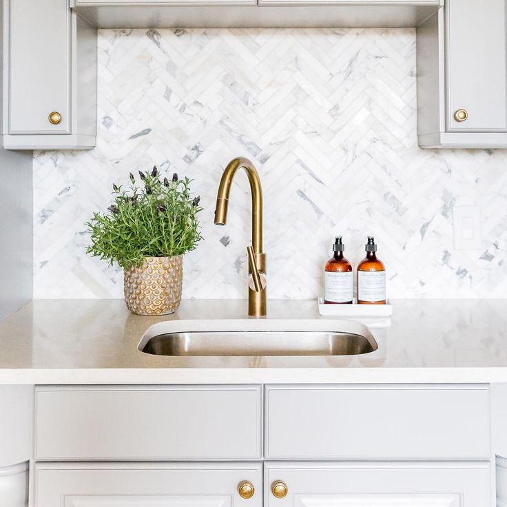Laundry Room Pantry Ideas Benjamin Moore Antique White: Herringbone Backsplash + Benjamin Moore 'Chelsea Gray