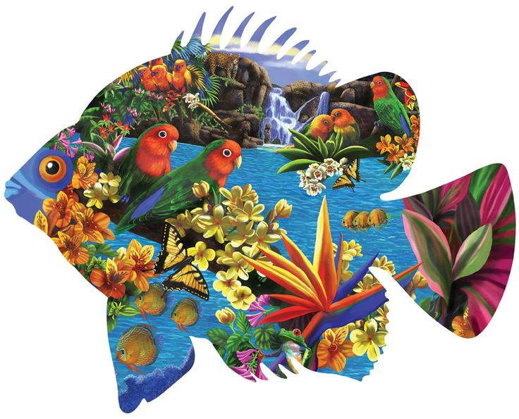 Tropical setting 1000 piece shaped jigsaw puzzle for Custom 5000 piece puzzle