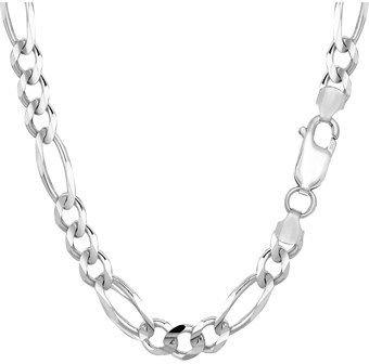 JewelryAffairs 14k White Gold Classic Figaro Chain Necklace, 6.0mm, 24 Inch.