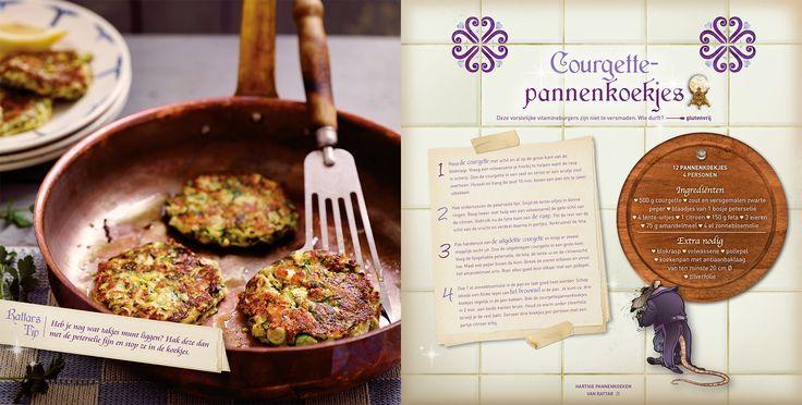 Courgettepannenkoekjes. Deze pannenkoekjes gemaakt van courgette zijn glutenvrije vitamineburgers. Wie durft? Dit recept komt uit Polles Pannenkoekenboek.
