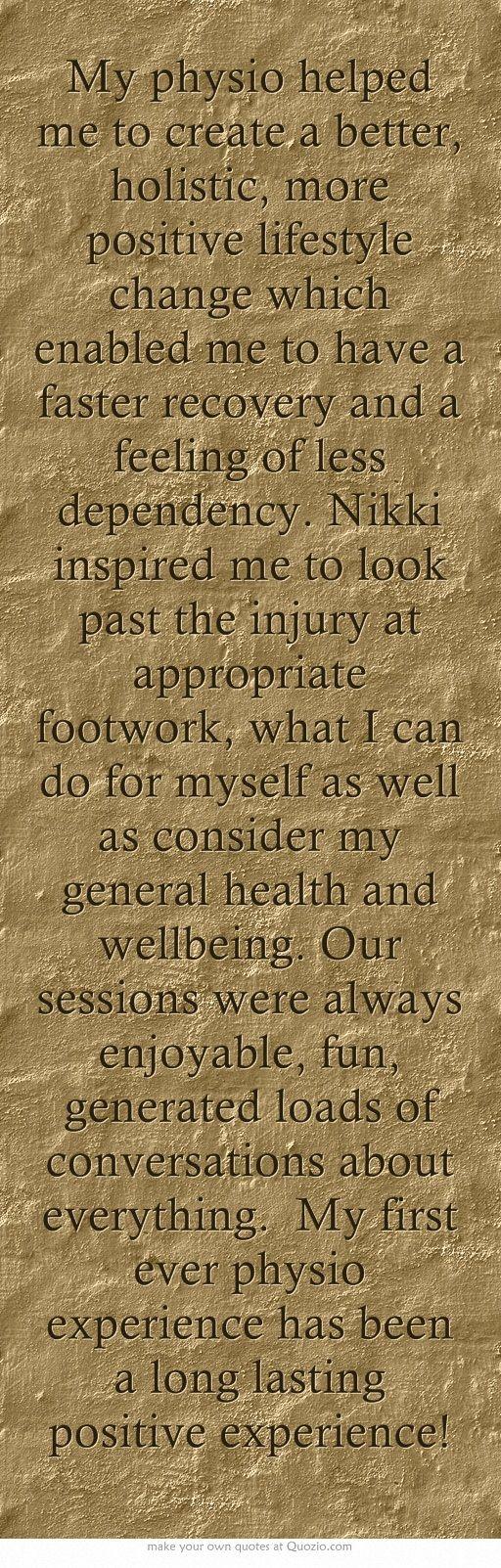 - Natalie Dillon. (Physio, Nikki Jones, New Lynn Physiotherapy, Auckland)