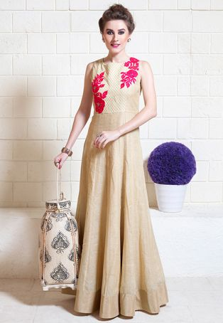 Embroidered Art silk Abaya Style Suit in Beige