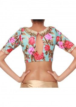 Printed floral boat neck blouse in a combination of blue and red with golden handwork