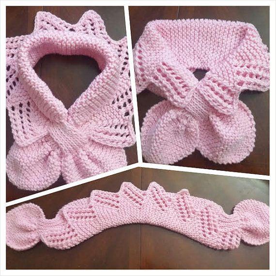 Bufanda de cuello de encaje de punto a mano / calentador / color de rosa caliente / color de rosa cinta bufanda de cuello de cuello para los niños o del Audlt