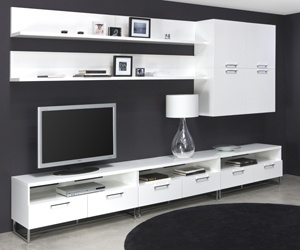 Tv cabinet, white tv unit...I would like it to have some color too. Maybe an orange/yellow designed carpet with the lamp shade orange.