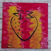 Zboží prodejce ProstěBižutka / Zboží   Fler.cz  Abstract art, acrylic, strawberry silhouette, silueta jahůdka jahoda.