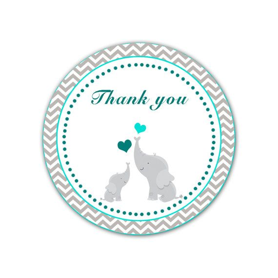 INSTANT DOWNLOAD Teal Grey Chevron Elephant Baby Shower Thank You Tag Labels - Polka Dots Party Favors Baby Shower Favors Baby Shower Tags