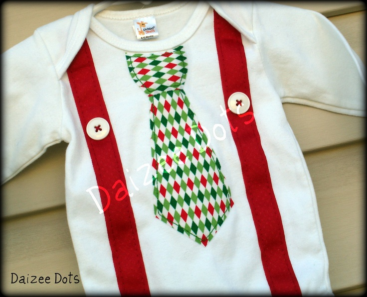 Christmas baby onesie tie with suspenders available in long sleeve only. $16.00, via Etsy.  Here's my first one --