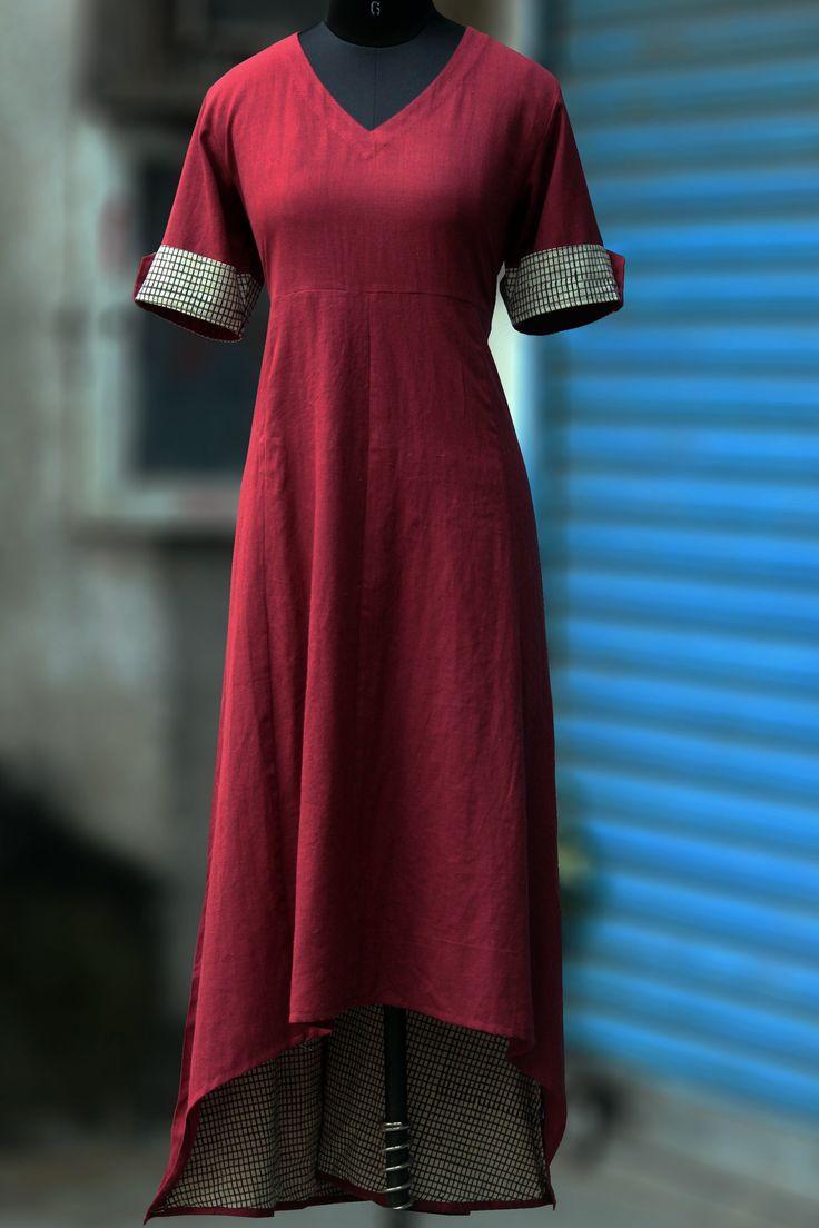 Maati Crafts Red Cotton Solid Asymmetric Kurti
