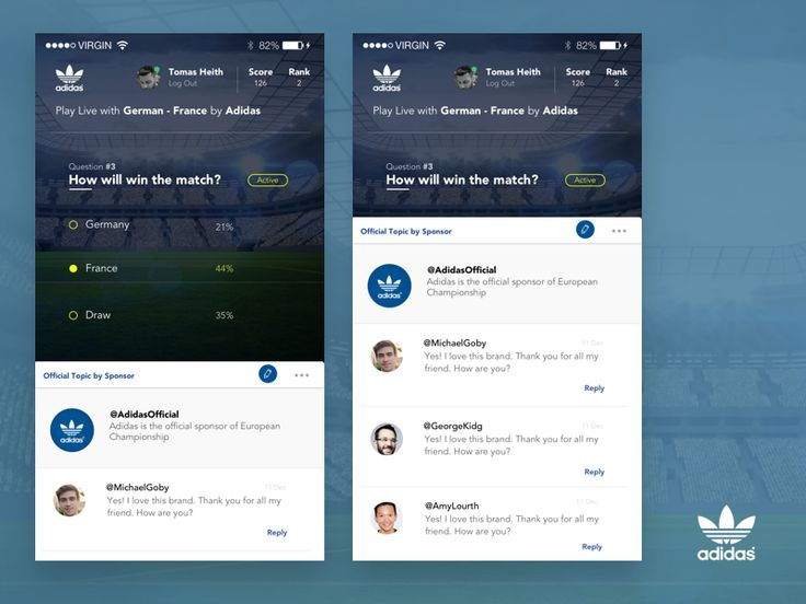 Adidas UI Gamification Cross Devices