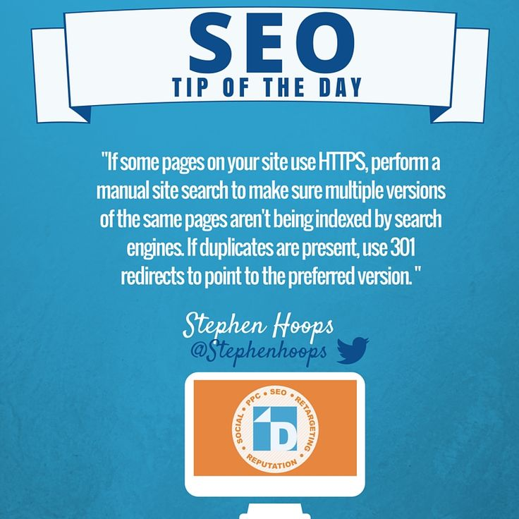 #SEO Tip from Stephen! If some pages on your site use HTTPS, perform a manual search to make sure multiple versions aren't being indexed.