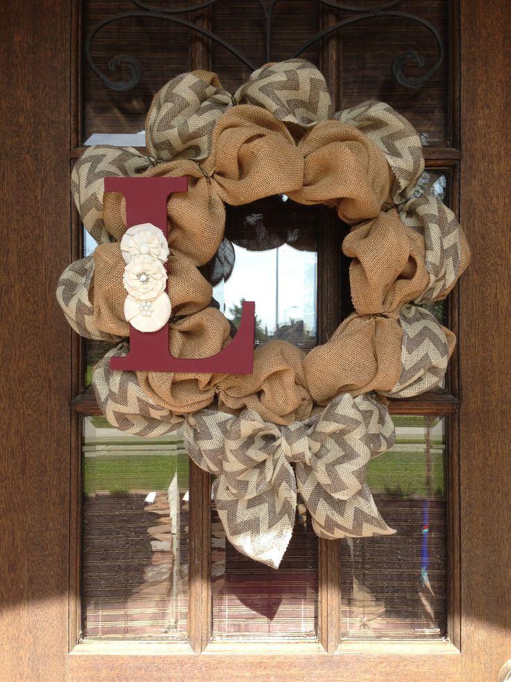 Chevron burlap Wreath  http://www.etsy.com/shop/AmericanHoney2012