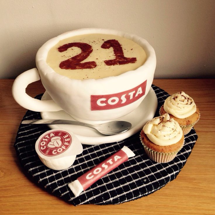 Costa coffee mug cup 21st male birthday cake xxx - For all your cake decorating supplies, please visit craftcompany.co.uk