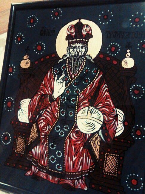 The Saint Trinity - romanian orthodox icon on glass