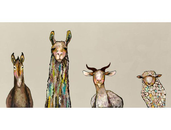 Four farm friends pose together in this cream contemporary canvas art. The hints of color in this nature wall art make it uniquely beautiful. Hang this hand-stretched canvas art up for a nice addition to your wall decor collection.