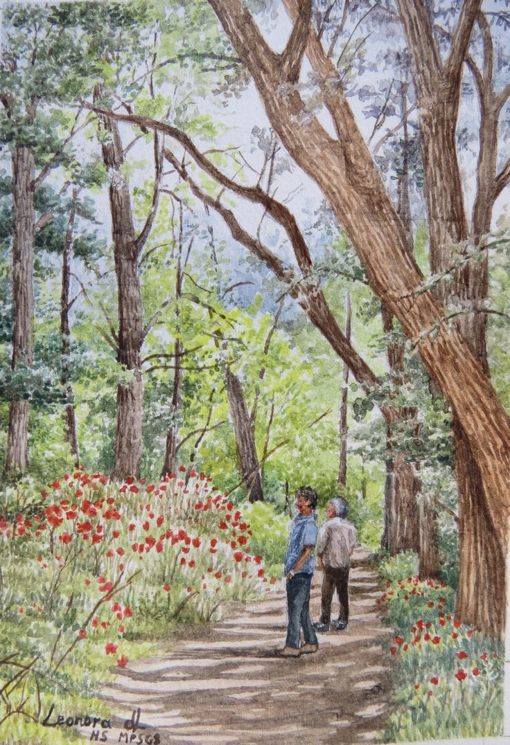 "Leonora de Lange "" Admiring Nature"" miniature watercolour 90 x 65mm"