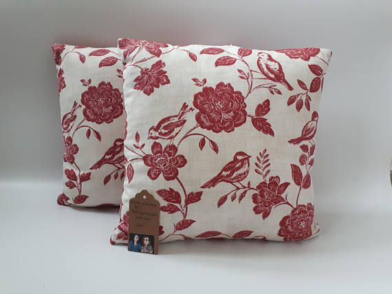 Two Ugly Sisters  Handmade Bird and Floral Red Cushions