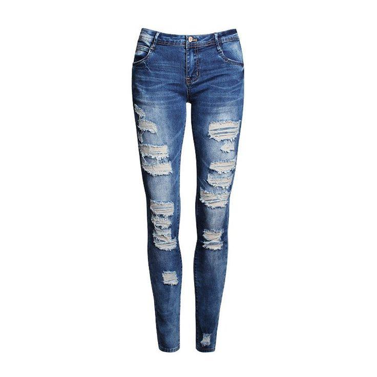 $9.87 (Buy here: https://alitems.com/g/1e8d114494ebda23ff8b16525dc3e8/?i=5&ulp=https%3A%2F%2Fwww.aliexpress.com%2Fitem%2FNew-Stretch-Jeans-Women-Girls-Hole-Cotton-Ripped-Pants-Blue-Denim-High-Waist-Skinny-Pencil-Slim%2F32778863719.html ) New Stretch Jeans Women Girls Hole Cotton Ripped Pants Blue Denim High Waist Skinny Pencil Slim Ladies Jeans for just $9.87
