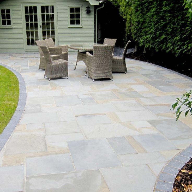 Natural paving riven sandstone york mix paving slabs for Garden patio slab designs