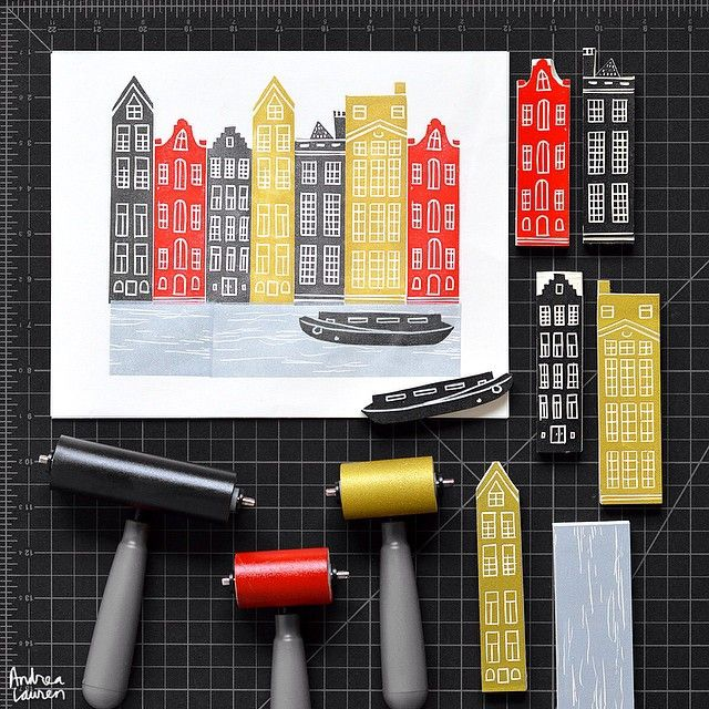 "1,565 Likes, 84 Comments - Andrea Lauren (@inkprintrepeat) on Instagram: ""Carving and printing Amsterdam row houses this morning using up some left over strips."""