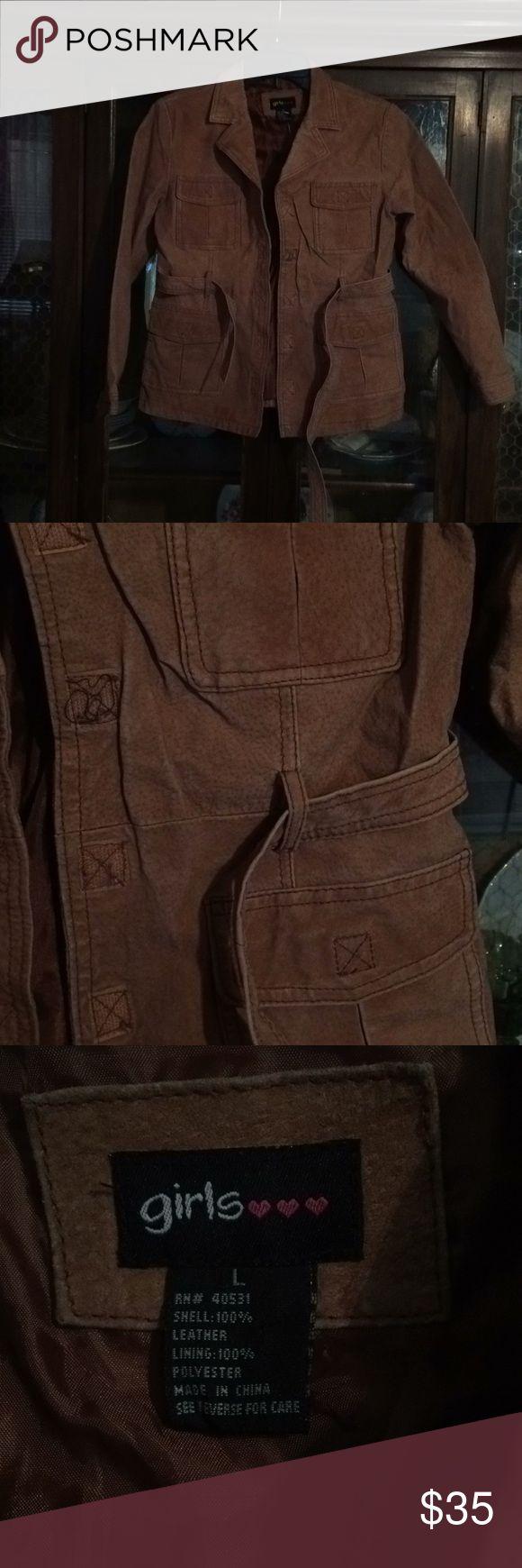 Little Girls Camel Leather Jacket Little Girls 100% Leather Jacket... Worn A Few Times!!!! Girls Jackets & Coats Blazers
