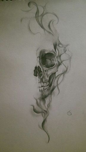 Skull with smoke effect || realistic drawing by Eline Groeneveld More – Totenköpfe