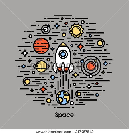 Planets, stars and rocket. Space theme icons - stock vector