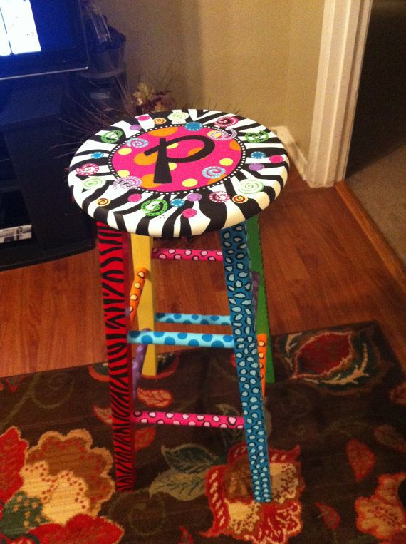 Hand painted Whimsical Stool by ThePittsStop on Etsy, $75.00