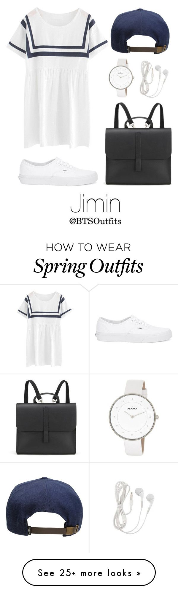 """Spring Outfit Inspired by Jimin"" by btsoutfits on Polyvore featuring Chicnova Fashion, O'Neill, Danielle Foster, Vans, Skagen, women's clothing, women, female, woman and misses"