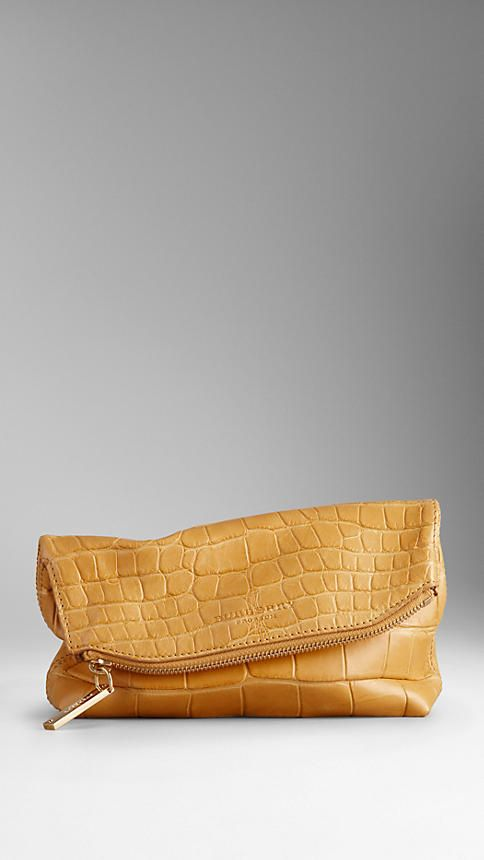 Small Alligator Leather Folded Clutch   Burberry