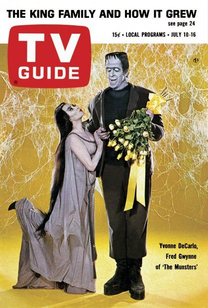 "TV Guide: July 10, 1965 - Yvonne DeCarlo and Fred Gwynne of ""The Munsters"""