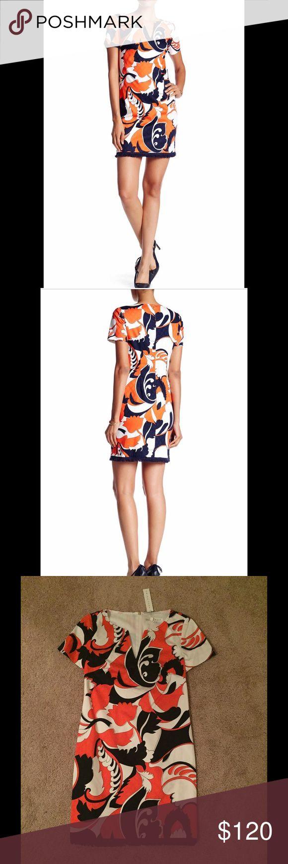 Trina Turk Coral Paisley Print Dress Split V-neck, short sleeves, back zip closure, allover paisley print, frayed hem. Made in USA. Shell: 95% cotton, 5% Lycra. Lining: 100% polyester. Dry clean. Trina Turk Dresses Mini