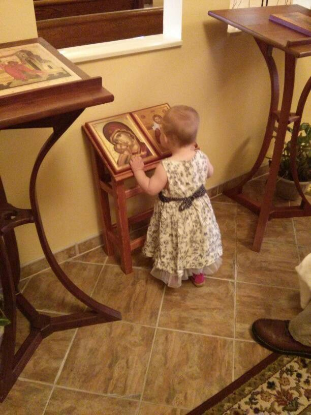 Children's icon stand or analogion  Per Kevin Basil Fritts: This photo is from St Anne Orthodox Church in Oak Ridge, Tennessee. The child-sized analogion was built by the rector, Fr. Stephen Freeman.
