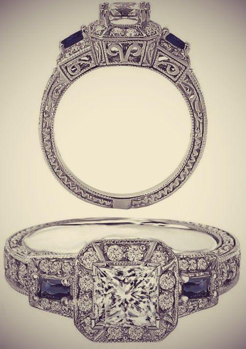 Princess Cut Diamond Halo Engagement Ring Blue Sapphire Accents