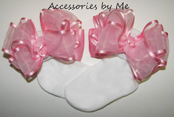 Frilly Bow Socks Pink Organza Satin Girls by #accessoriesbyme, $20.99