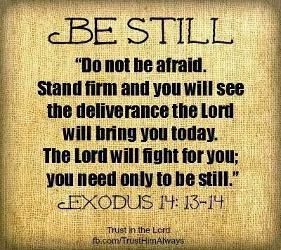 Exodus 14:13-14 when you are wronged-- when wickedness is surrounding you-- be still....