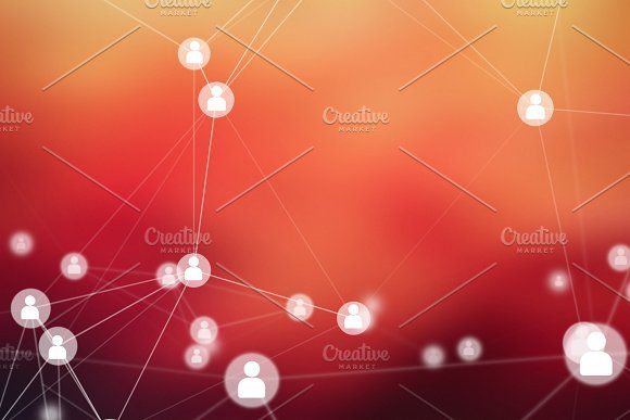 People Connection lines on red background, social network for technology concept, abstract illustration by Tampatra on Creative Market