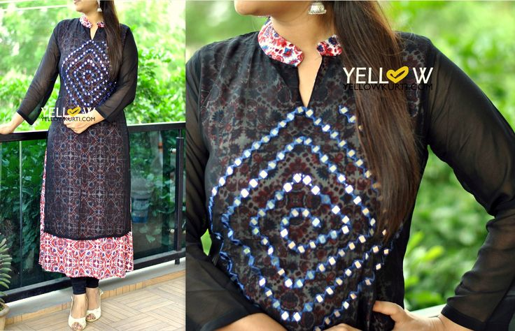 plain silver ring Full sleeve Long rayon printed Kurti with georgette overlay embroidered with