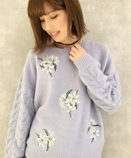 PAGEBOY(ページボーイ)の袖ケーブル花刺繍PO(ニット/セーター)|サックスブルー