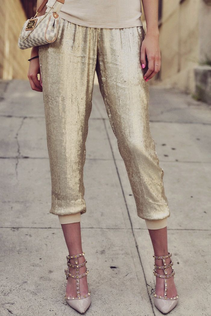 sequin pants for NYE #brilliantstyle #colgate #opticwhite