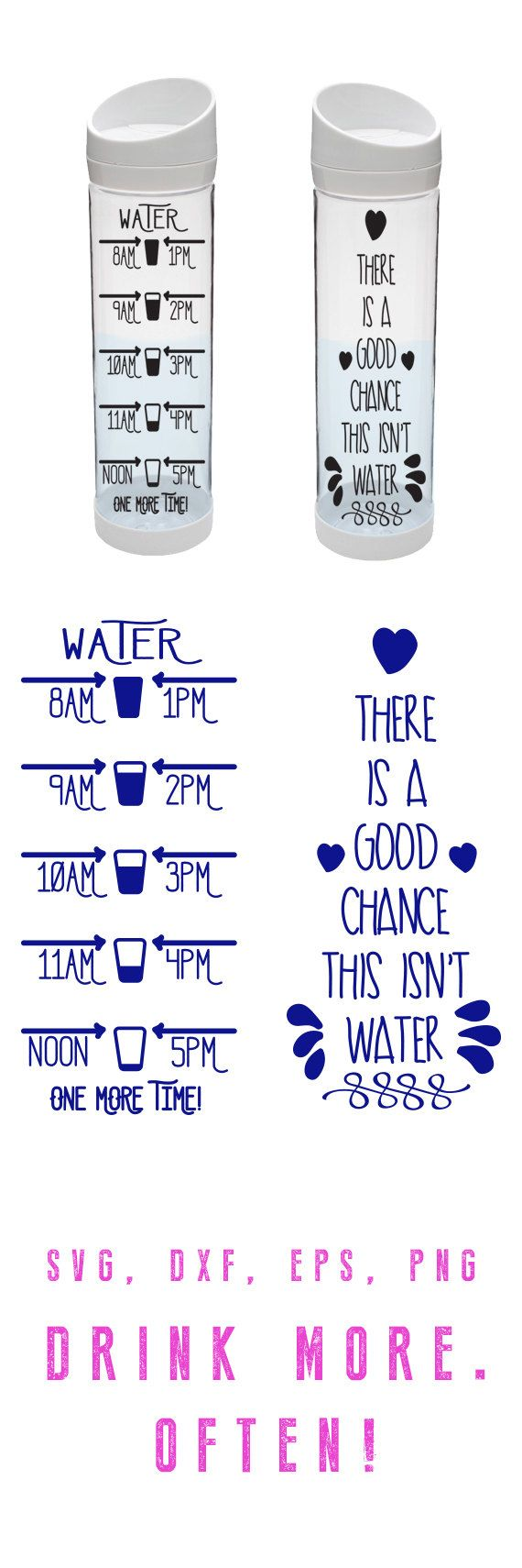 WATER BOTTLE MOTIVATION Cut File  Svg eps dxf png by CutFileShop