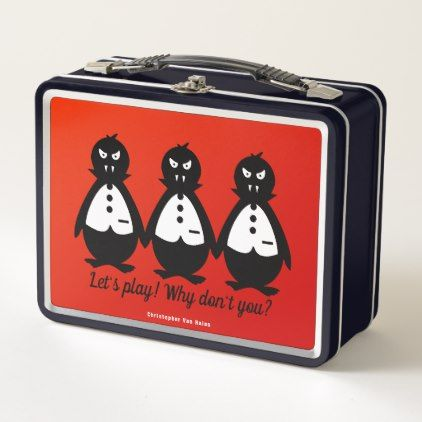 Three Vampire Penguins VZS2 Fiery Red & Black Metal Lunch Box - red gifts color style cyo diy personalize unique
