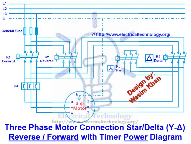 Three Phase Motor Connection StarDelta (YΔ) Reverse  Forward with Timer Power & Control