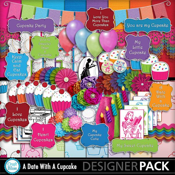 Sale! Digital Scrapbook Kit A Date With A Cupcake Digital Papers Cupcake Paper Birthday Scrapbook Kit Party Invitation Baker Clipart Wordart